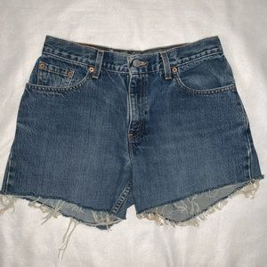 Levi's | 555 Cutoff Frayed Denim Shorts